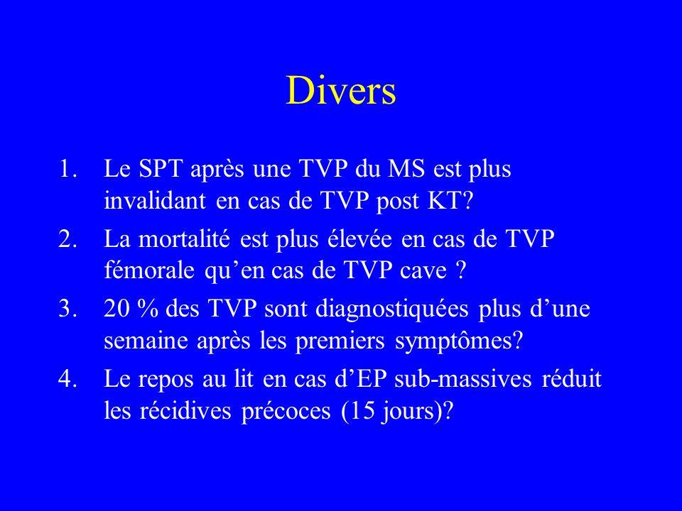 Divers 1.Le SPT après une TVP du MS est plus invalidant en cas de TVP post KT? 2.La mortalité est plus élevée en cas de TVP fémorale quen cas de TVP c