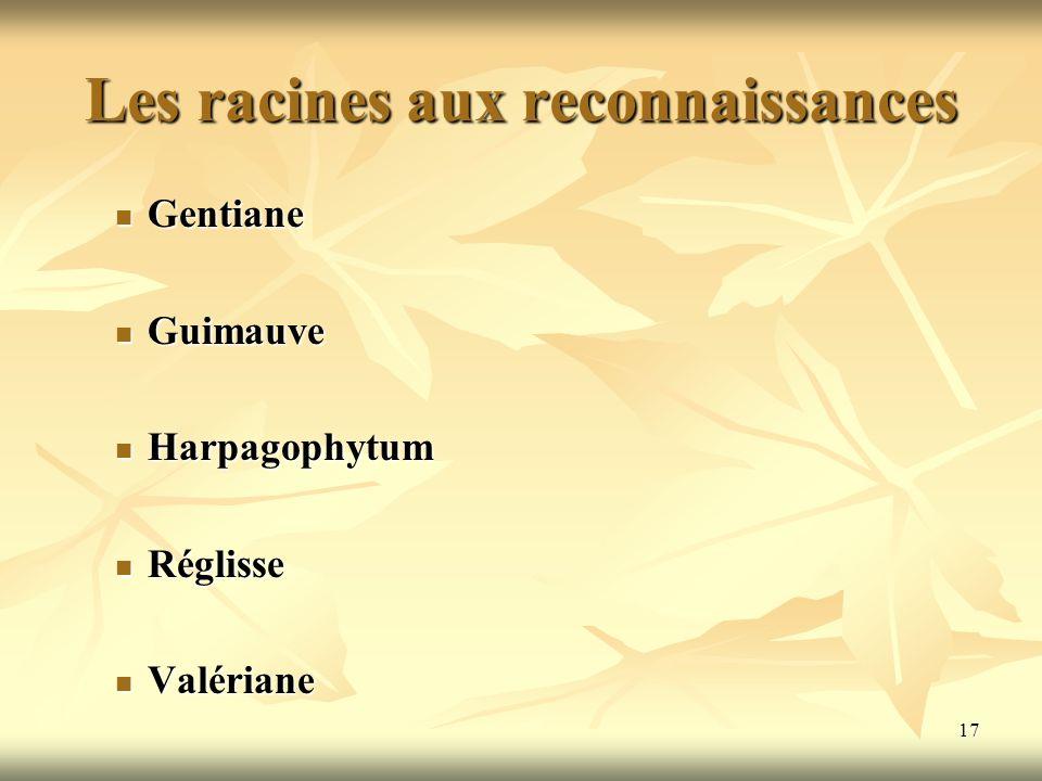 Les racines aux reconnaissances Gentiane Gentiane Guimauve Guimauve Harpagophytum Harpagophytum Réglisse Réglisse Valériane Valériane 17