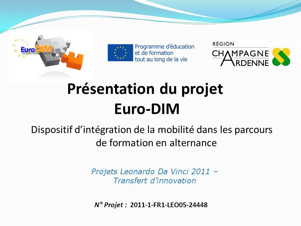 Présentation du projet Euro-DIM Projets Leonardo Da Vinci 2011 – Transfert dinnovation Dispositif dintégration de la mobilité dans les parcours de formation en alternance N° Projet : 2011-1-FR1-LEO05-24448