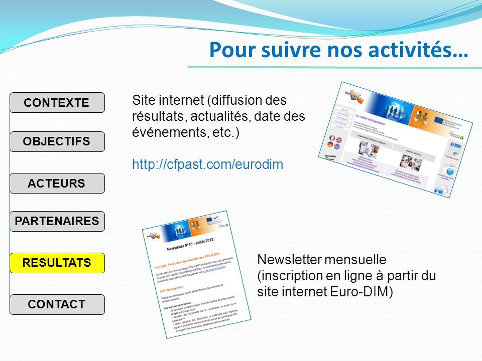 Pour suivre nos activités… Site internet (diffusion des résultats, actualités, date des événements, etc.) http://cfpast.com/eurodim Newsletter mensuelle (inscription en ligne à partir du site internet Euro-DIM) PARTENAIRES RESULTATS OBJECTIFS CONTEXTE ACTEURS CONTACT