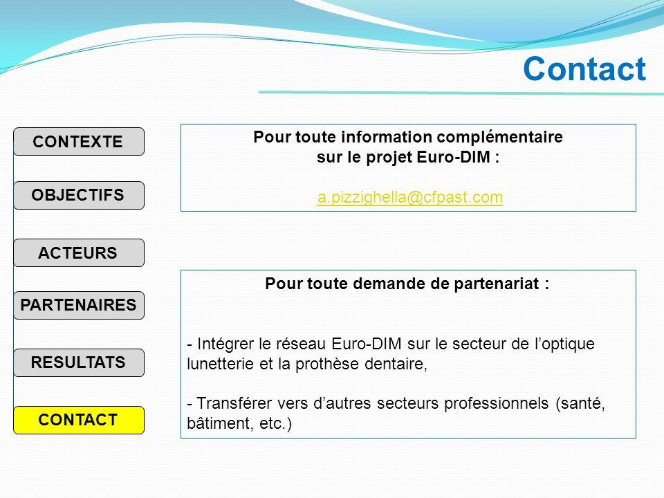Contact Pour toute demande de partenariat : - Intégrer le réseau Euro-DIM sur le secteur de loptique lunetterie et la prothèse dentaire, - Transférer vers dautres secteurs professionnels (santé, bâtiment, etc.) Pour toute information complémentaire sur le projet Euro-DIM : a.pizzighella@cfpast.com PARTENAIRES RESULTATS OBJECTIFS CONTEXTE ACTEURS CONTACT