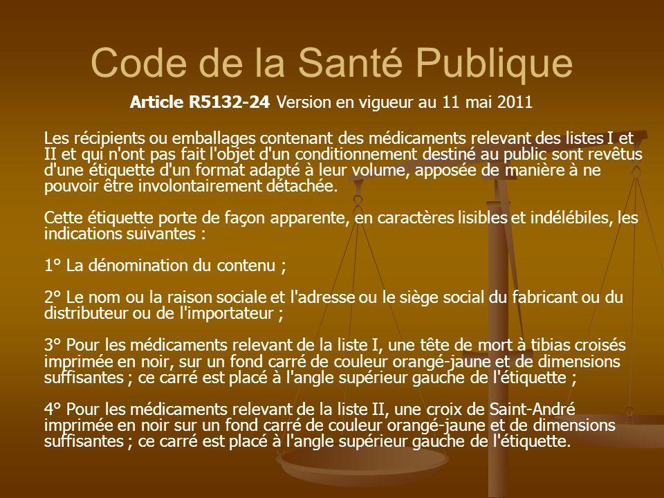 Code de la Santé Publique Article R5132-24 Version en vigueur au 11 mai 2011 Les récipients ou emballages contenant des médicaments relevant des liste