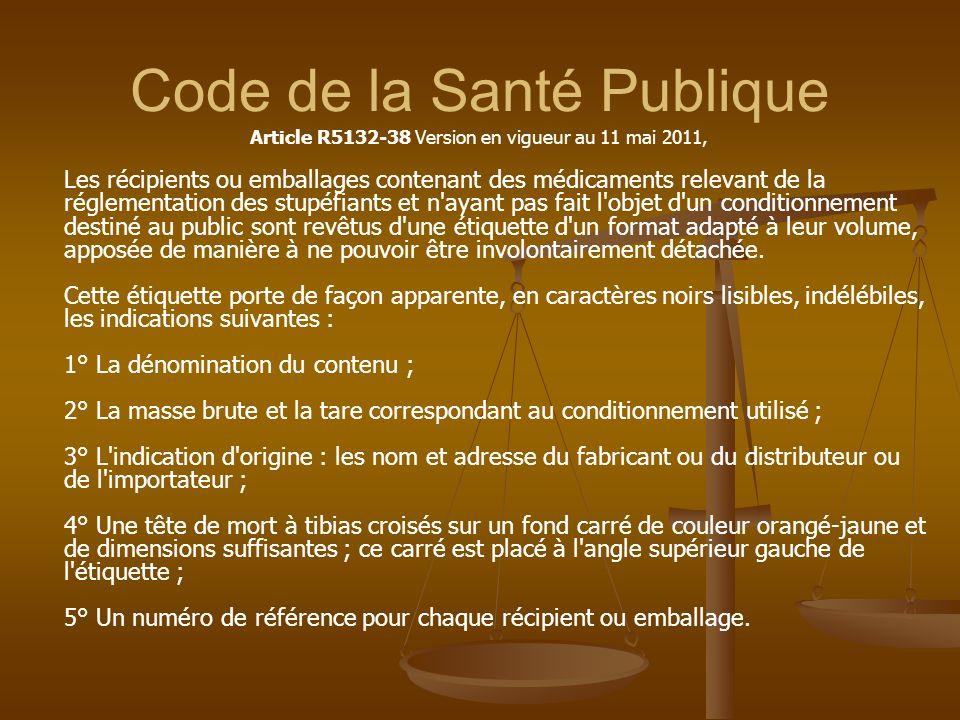 Code de la Santé Publique Article R5132-38 Version en vigueur au 11 mai 2011, Les récipients ou emballages contenant des médicaments relevant de la ré