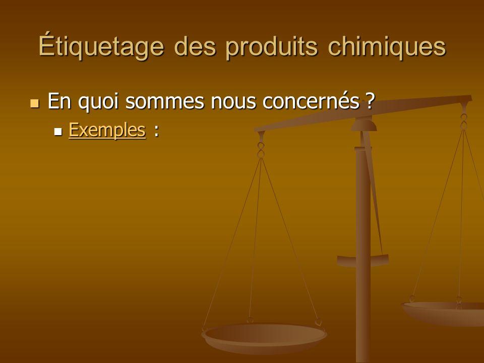 Étiquetage des produits chimiques En quoi sommes nous concernés ? En quoi sommes nous concernés ? Exemples : Exemples : Exemples