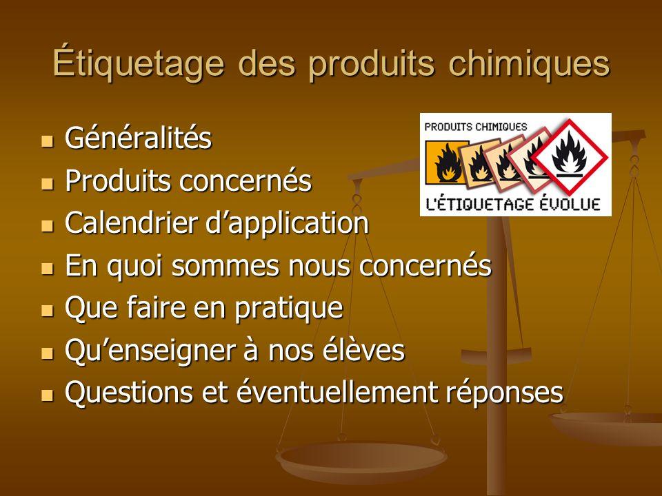 Étiquetage des produits chimiques Généralités Généralités Produits concernés Produits concernés Calendrier dapplication Calendrier dapplication En quo