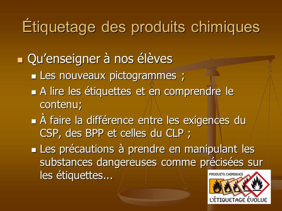 Étiquetage des produits chimiques Quenseigner à nos élèves Quenseigner à nos élèves Les nouveaux pictogrammes ; Les nouveaux pictogrammes ; A lire les