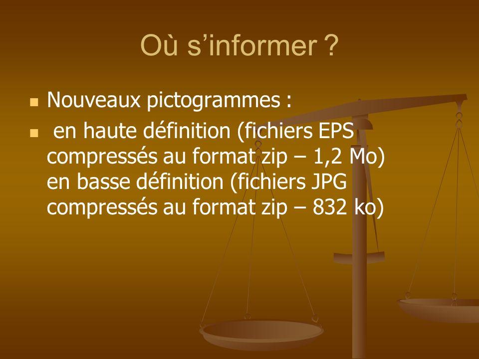 Où sinformer ? Nouveaux pictogrammes : en haute définition (fichiers EPS compressés au format zip – 1,2 Mo) en basse définition (fichiers JPG compress