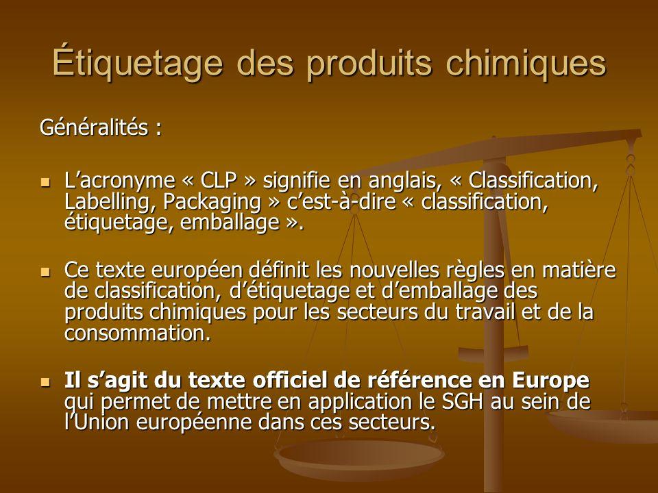 Étiquetage des produits chimiques Généralités : Lacronyme « CLP » signifie en anglais, « Classification, Labelling, Packaging » cest-à-dire « classifi