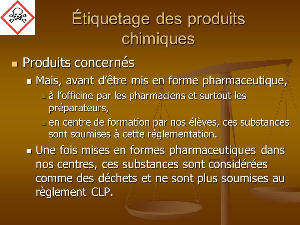 Étiquetage des produits chimiques Produits concernés Produits concernés Mais, avant dêtre mis en forme pharmaceutique, Mais, avant dêtre mis en forme