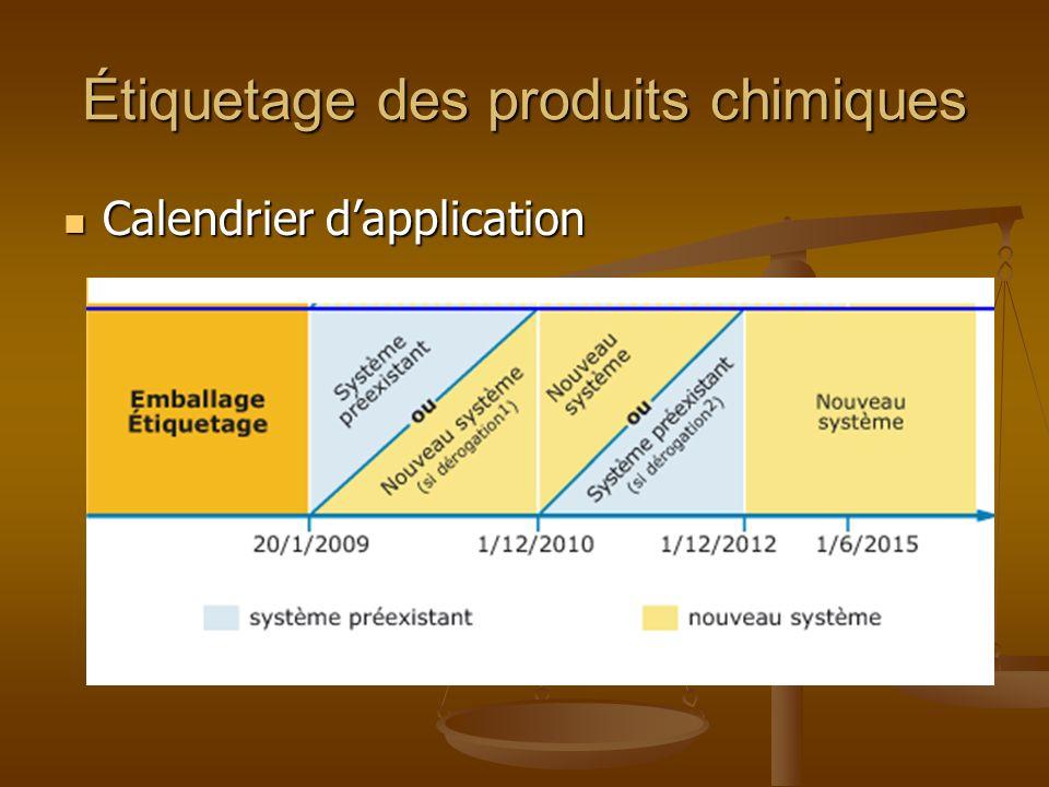 Étiquetage des produits chimiques Calendrier dapplication Calendrier dapplication