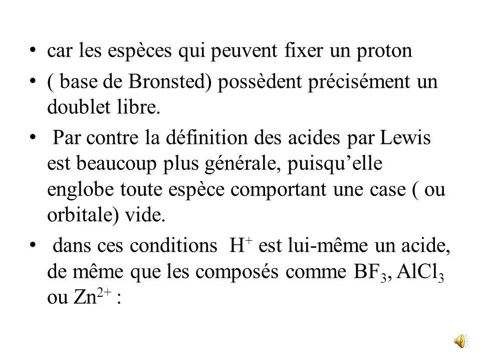 II. Lacidobasicité selon Lewis Définitions Un acide est une espèce contenant un atome susceptible de se fixer sur un doublet électronique libre. Une b