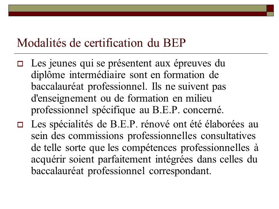 Modalités de certification du BEP Les jeunes qui se présentent aux épreuves du diplôme intermédiaire sont en formation de baccalauréat professionnel.