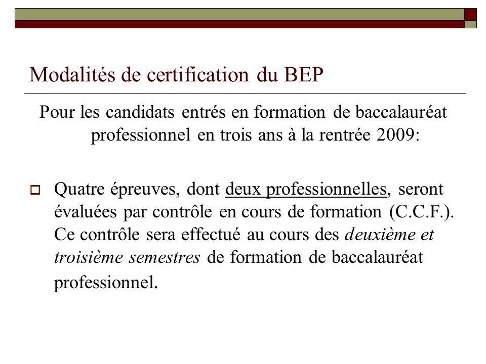 Modalités de certification du BEP Pour les candidats entrés en formation de baccalauréat professionnel en trois ans à la rentrée 2009: Quatre épreuves