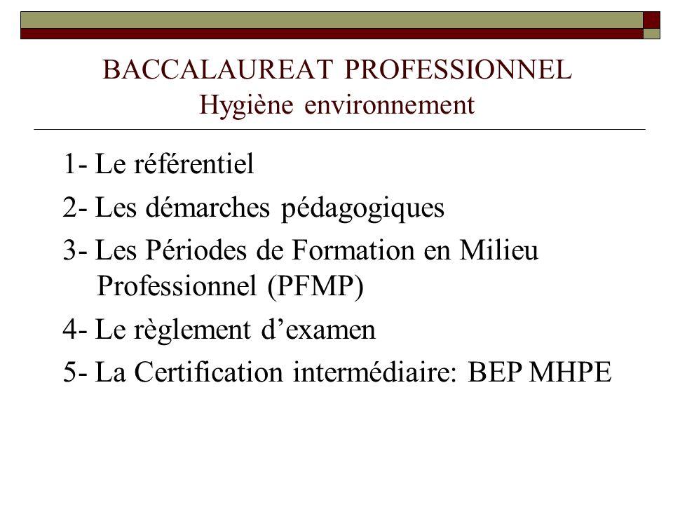BACCALAUREAT PROFESSIONNEL Hygiène environnement 1- Le référentiel 2- Les démarches pédagogiques 3- Les Périodes de Formation en Milieu Professionnel