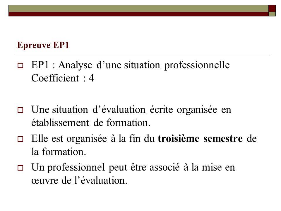Epreuve EP1 EP1 : Analyse dune situation professionnelle Coefficient : 4 Une situation dévaluation écrite organisée en établissement de formation. Ell