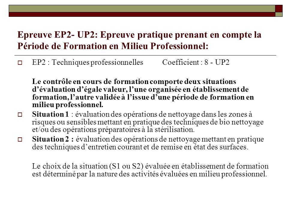Epreuve EP2- UP2: Epreuve pratique prenant en compte la Période de Formation en Milieu Professionnel: EP2 : Techniques professionnelles Coefficient :