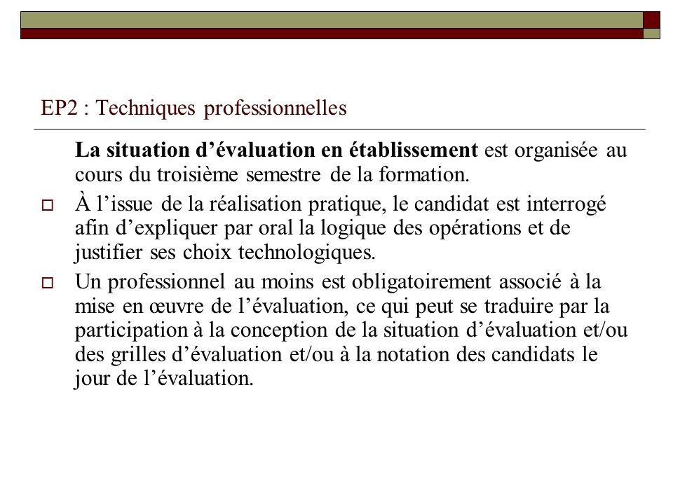 EP2 : Techniques professionnelles La situation dévaluation en établissement est organisée au cours du troisième semestre de la formation. À lissue de