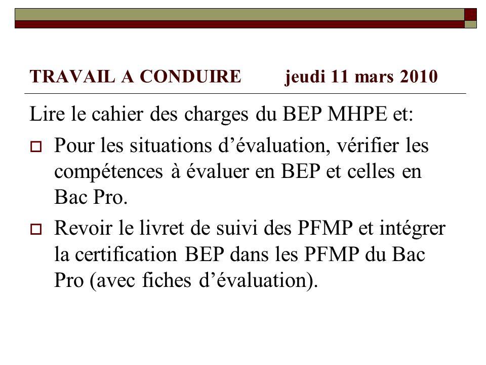 TRAVAIL A CONDUIRE jeudi 11 mars 2010 Lire le cahier des charges du BEP MHPE et: Pour les situations dévaluation, vérifier les compétences à évaluer e