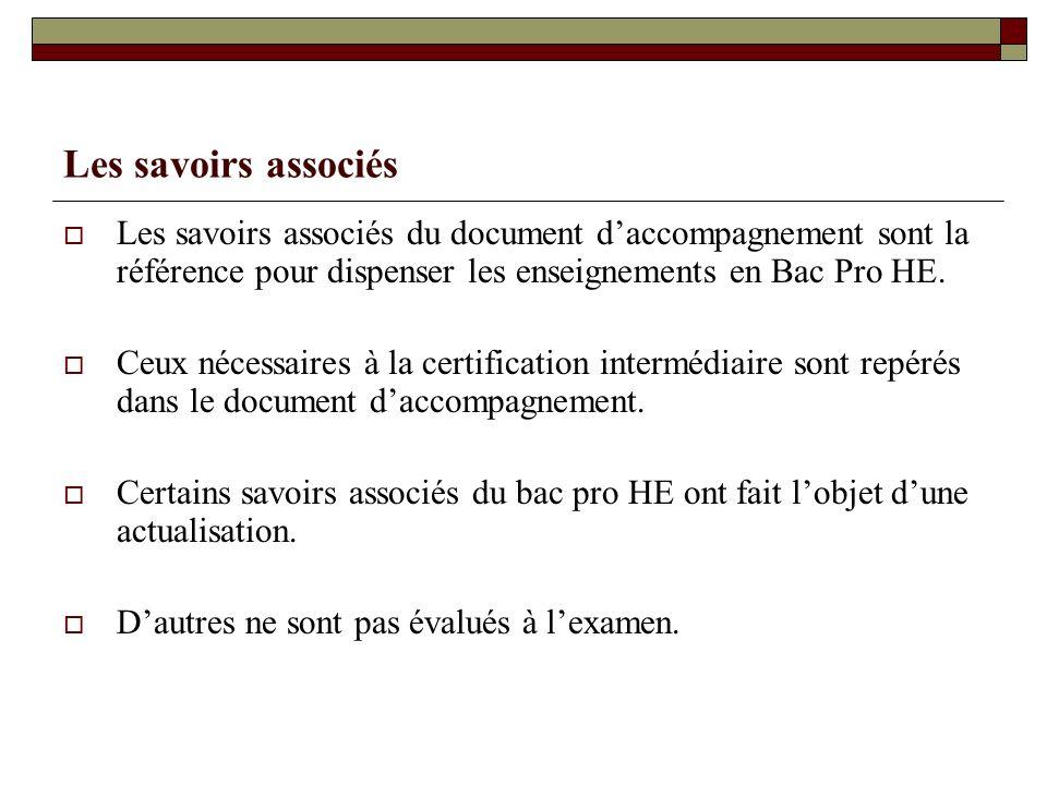 Les savoirs associés Les savoirs associés du document daccompagnement sont la référence pour dispenser les enseignements en Bac Pro HE. Ceux nécessair