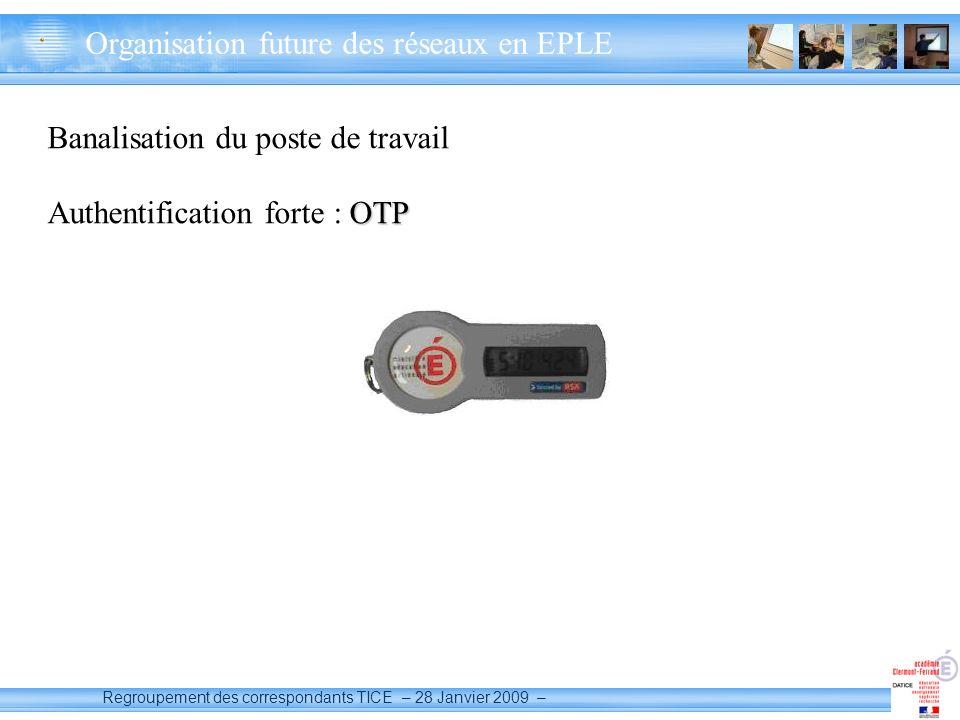 Regroupement des correspondants TICE – 28 Janvier 2009 – Banalisation du poste de travail OTP Authentification forte : OTP 28/01/2009 Organisation future des réseaux en EPLE