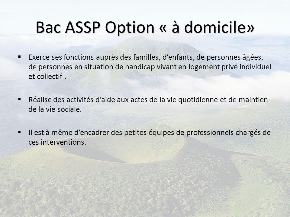 Bac ASSP Option « à domicile» Exerce ses fonctions auprès des familles, denfants, de personnes âgées, de personnes en situation de handicap vivant en