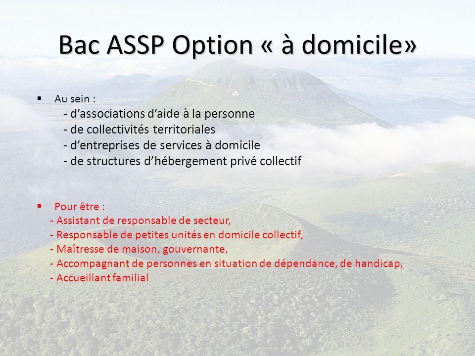 Bac ASSP Option « à domicile» Au sein : - dassociations daide à la personne - de collectivités territoriales - dentreprises de services à domicile - d