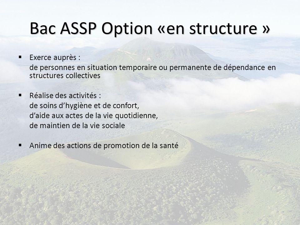 Bac ASSP Option «en structure » Exerce auprès : de personnes en situation temporaire ou permanente de dépendance en structures collectives Réalise des