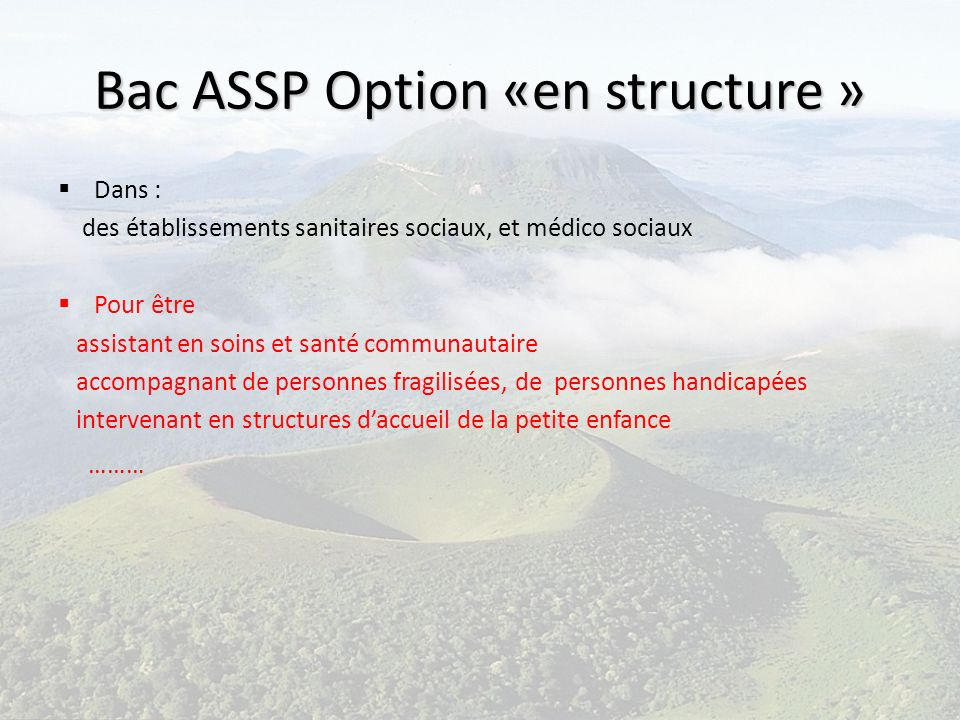 Bac ASSP Option «en structure » Dans : des établissements sanitaires sociaux, et médico sociaux Pour être assistant en soins et santé communautaire ac