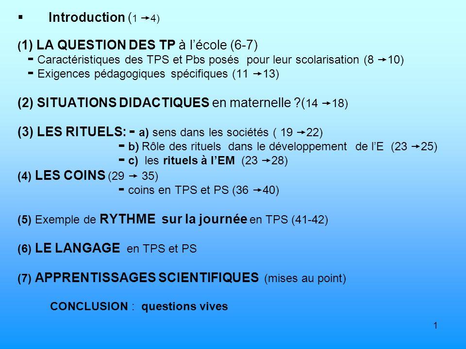 1 Introduction ( 1 4) ( 1) LA QUESTION DES TP à lécole (6-7) Caractéristiques des TPS et Pbs posés pour leur scolarisation (8 10) Exigences pédagogiqu