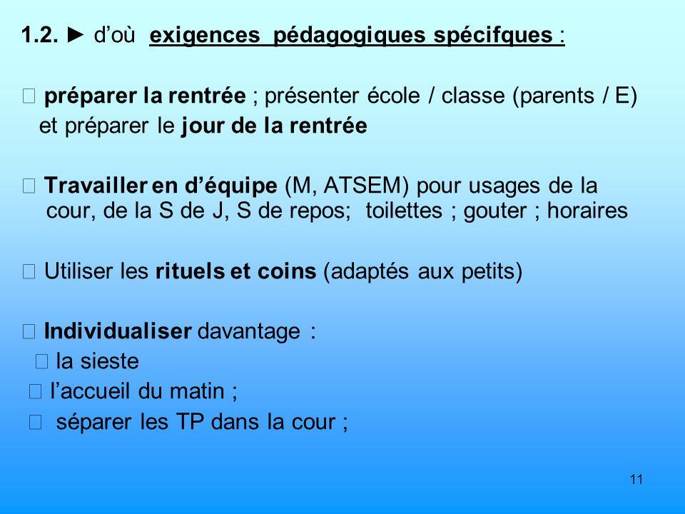 11 1.2. doù exigences pédagogiques spécifques : préparer la rentrée ; présenter école / classe (parents / E) et préparer le jour de la rentrée Travail