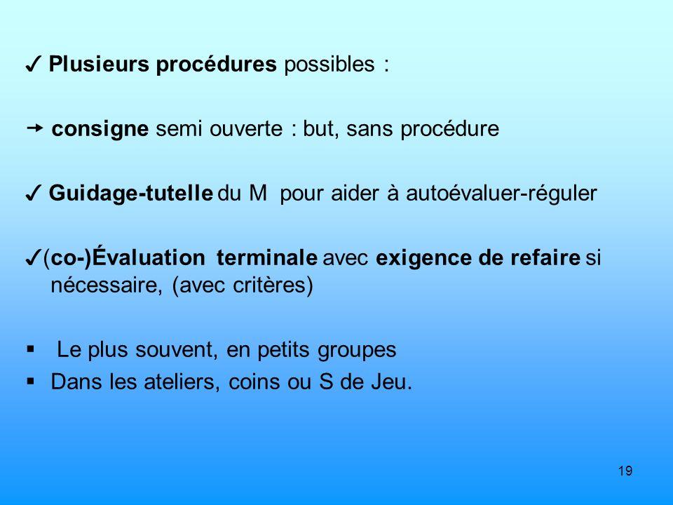 19 Plusieurs procédures possibles : consigne semi ouverte : but, sans procédure Guidage-tutelle du M pour aider à autoévaluer-réguler (co-)Évaluation