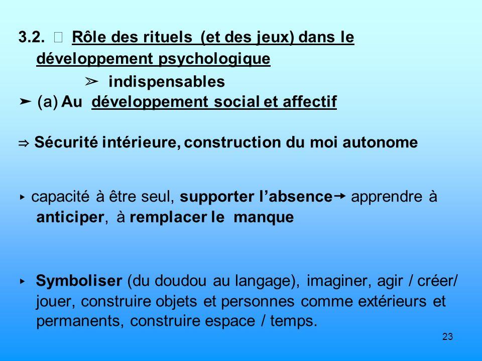23 3.2. Rôle des rituels (et des jeux) dans le développement psychologique indispensables (a) Au développement social et affectif Sécurité intérieure,