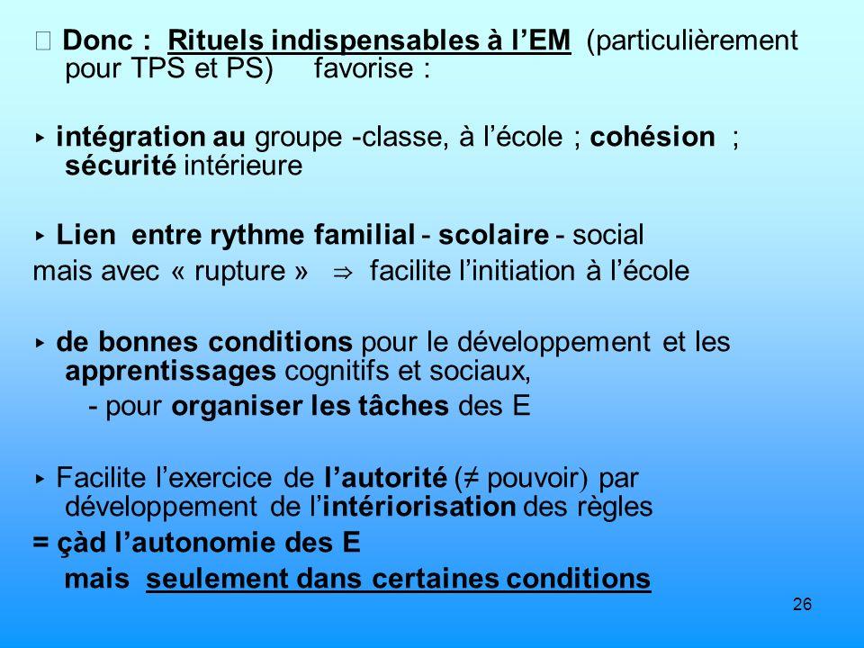 26 Donc : Rituels indispensables à lEM (particulièrement pour TPS et PS) favorise : intégration au groupe -classe, à lécole ; cohésion ; sécurité inté