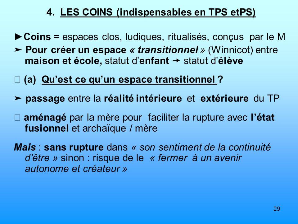 29 4. LES COINS (indispensables en TPS etPS) Coins = espaces clos, ludiques, ritualisés, conçus par le M Pour créer un espace « transitionnel » (Winni