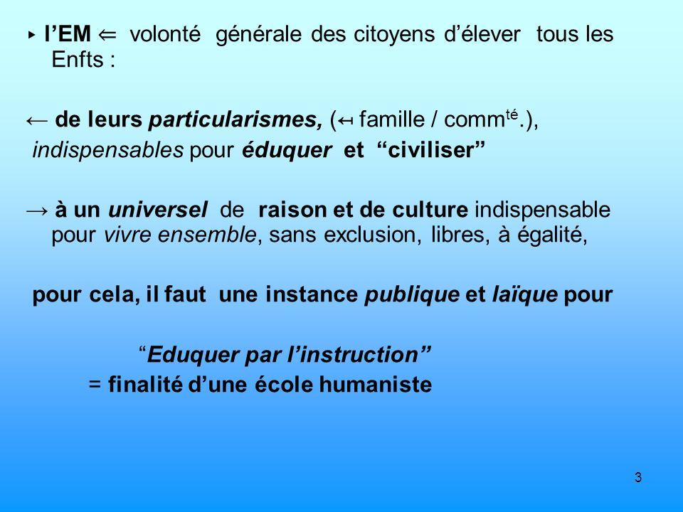 3 lEM volonté générale des citoyens délever tous les Enfts : de leurs particularismes, ( famille / comm té.), indispensables pour éduquer et civiliser