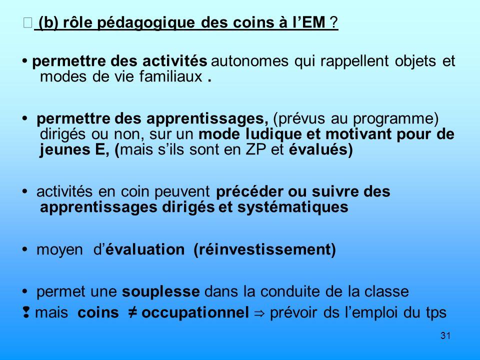 31 (b) rôle pédagogique des coins à lEM ? permettre des activités autonomes qui rappellent objets et modes de vie familiaux. permettre des apprentissa