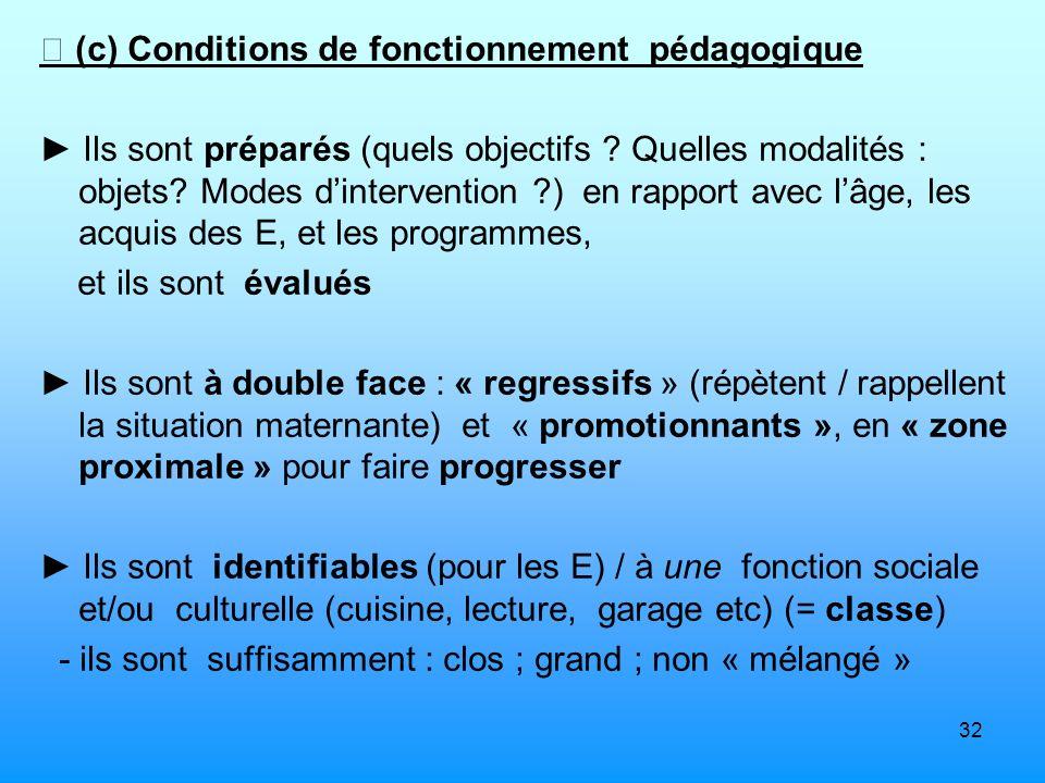 32 (c) Conditions de fonctionnement pédagogique Ils sont préparés (quels objectifs ? Quelles modalités : objets? Modes dintervention ?) en rapport ave