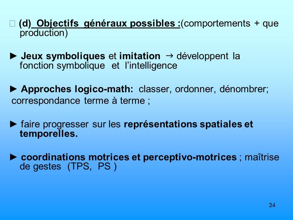34 (d) Objectifs généraux possibles :(comportements + que production) Jeux symboliques et imitation développent la fonction symbolique et lintelligenc