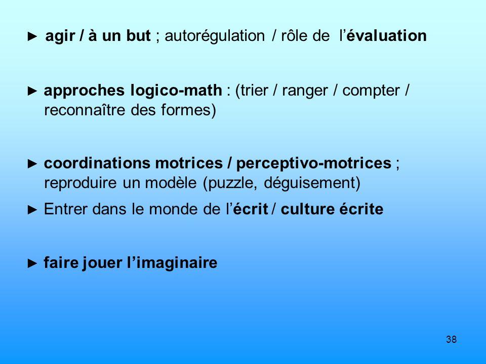 38 agir / à un but ; autorégulation / rôle de lévaluation approches logico-math : (trier / ranger / compter / reconnaître des formes) coordinations mo