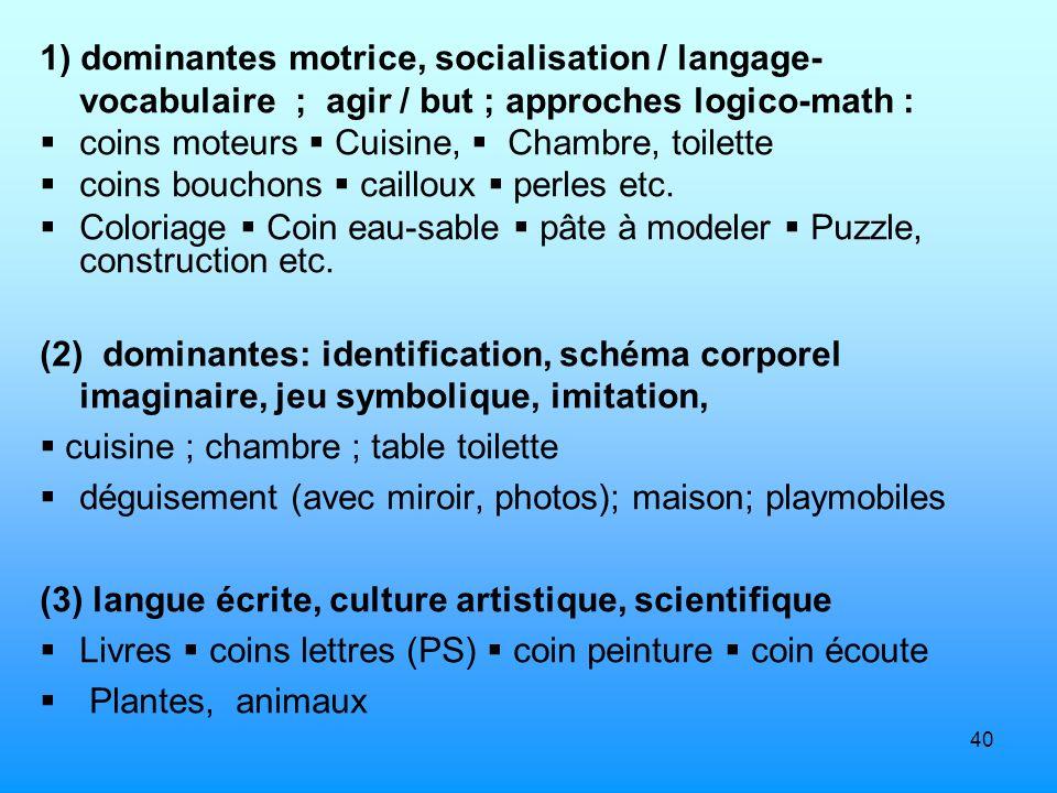 40 1) dominantes motrice, socialisation / langage- vocabulaire ; agir / but ; approches logico-math : coins moteurs Cuisine, Chambre, toilette coins b