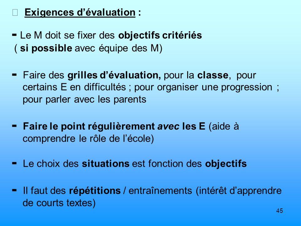 45 Exigences dévaluation : Le M doit se fixer des objectifs critériés ( si possible avec équipe des M) Faire des grilles dévaluation, pour la classe,