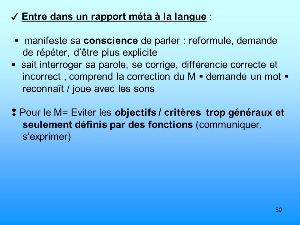 50 Entre dans un rapport méta à la langue : manifeste sa conscience de parler : reformule, demande de répéter, dêtre plus explicite sait interroger sa