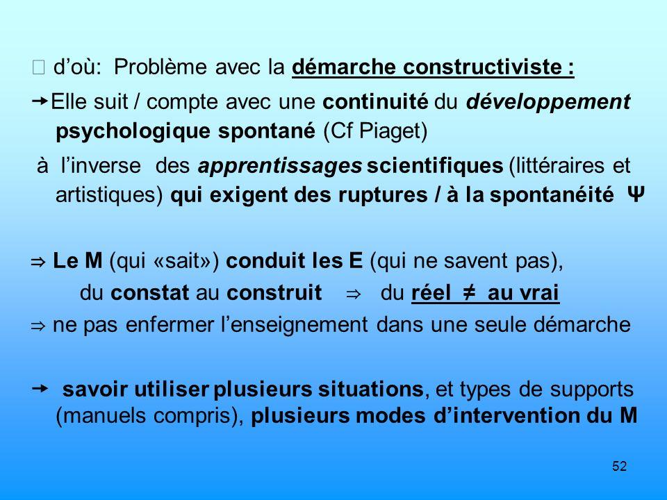 52 doù: Problème avec la démarche constructiviste : Elle suit / compte avec une continuité du développement psychologique spontané (Cf Piaget) à linve