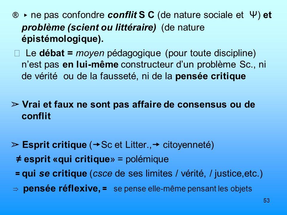 53 ® ne pas confondre conflit S C (de nature sociale et Ψ) et problème (scient ou littéraire) (de nature épistémologique). Le débat = moyen pédagogiqu