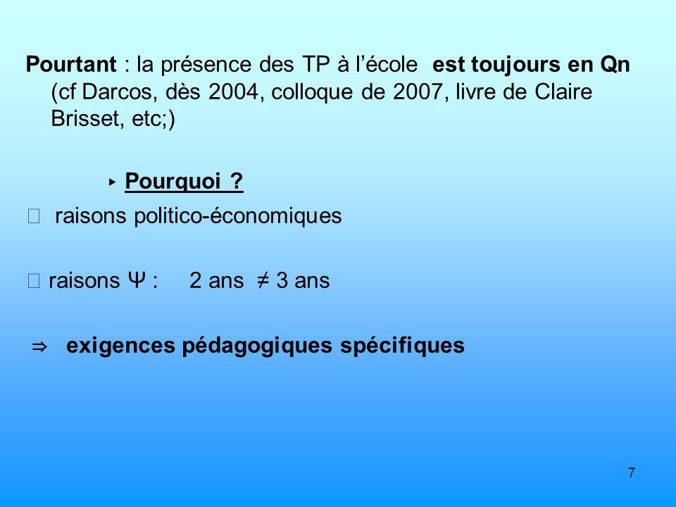 7 Pourtant : la présence des TP à lécole est toujours en Qn (cf Darcos, dès 2004, colloque de 2007, livre de Claire Brisset, etc;) Pourquoi ? raisons