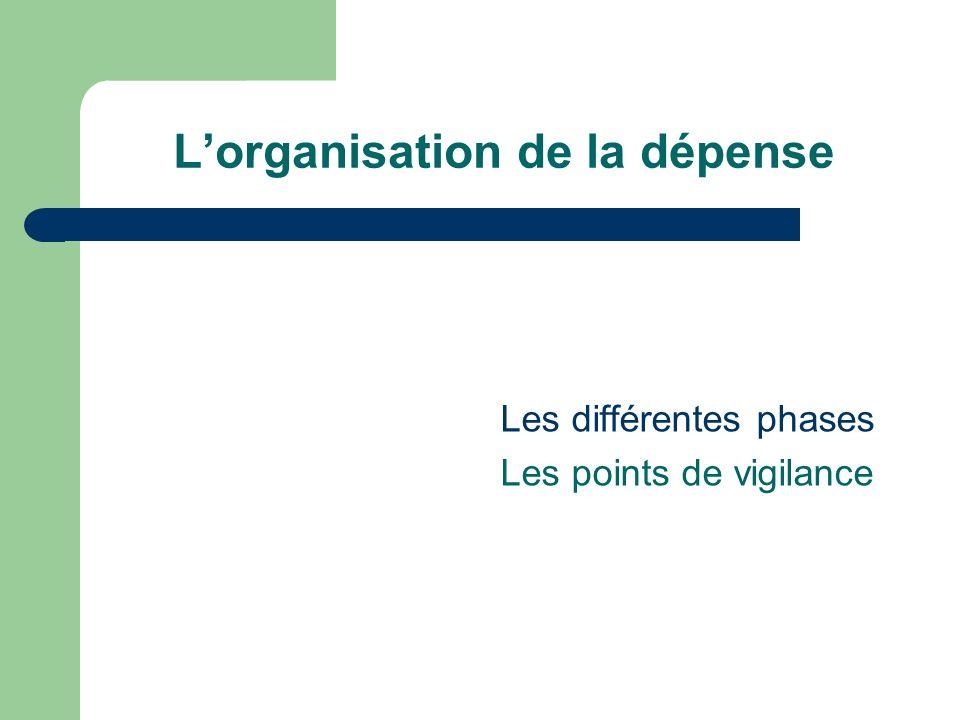 Lorganisation de la dépense Les différentes phases Les points de vigilance