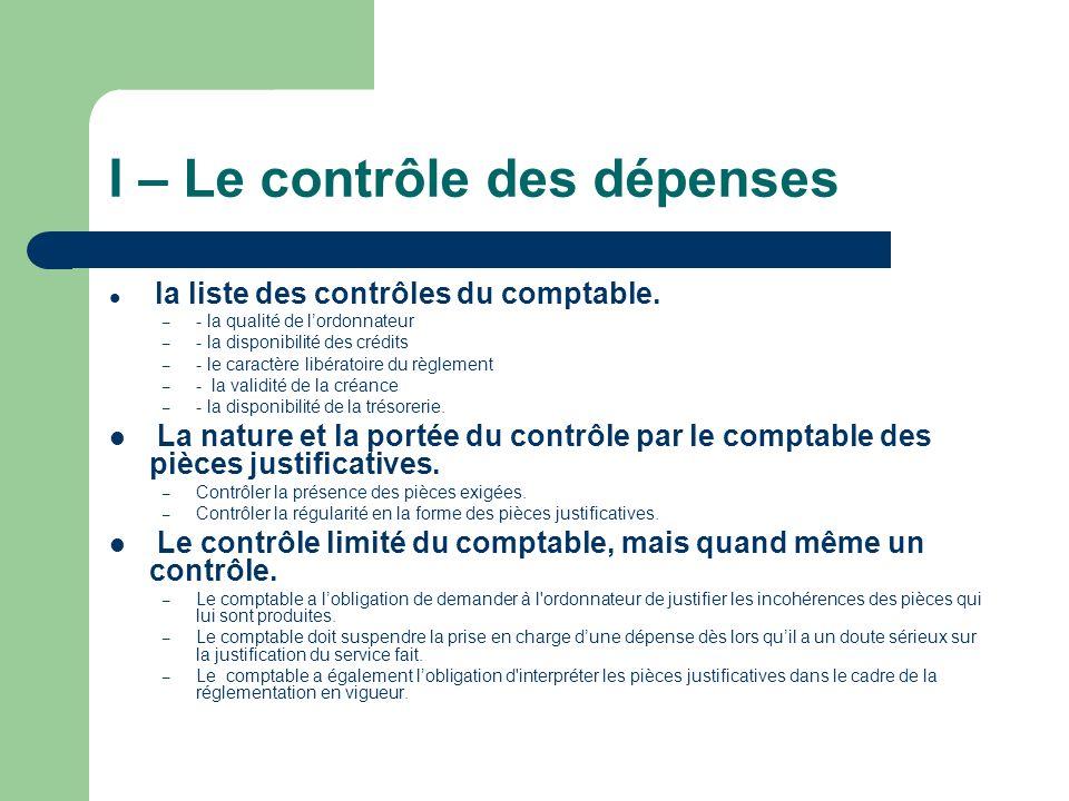 I – Le contrôle des dépenses la liste des contrôles du comptable.