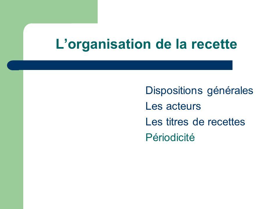 Lorganisation de la recette Dispositions générales Les acteurs Les titres de recettes Périodicité