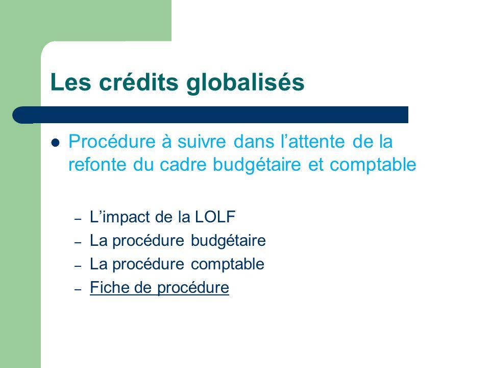 Les crédits globalisés Procédure à suivre dans lattente de la refonte du cadre budgétaire et comptable – Limpact de la LOLF – La procédure budgétaire – La procédure comptable – Fiche de procédure Fiche de procédure