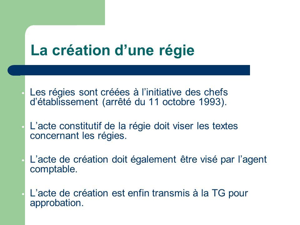 Les régies sont créées à linitiative des chefs détablissement (arrêté du 11 octobre 1993).